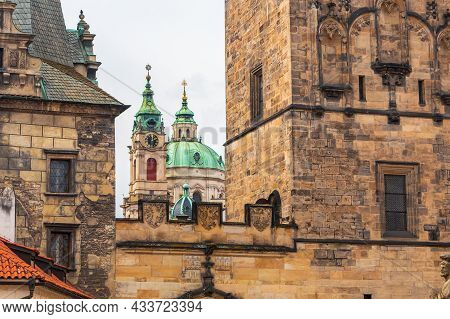 Prague, Czech Republic - 08 12 2021: Towers Of The Church Of Saint Nicholas In The Lesser Town, In F