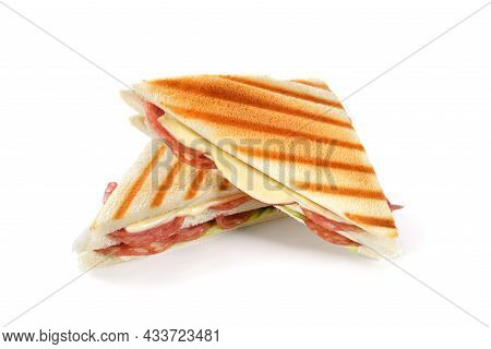 Grilled Double Sandwich With Italian Salami And Melting Cheese On White Background