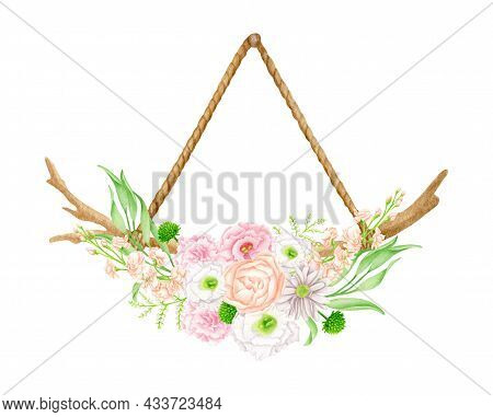 Watercolor Hanging Floral Decoration. Hand Drawn Wood Branch On Rope With Flowers And Leaves. Weddin