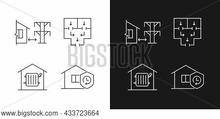 Home Building Regulation Linear Icons Set For Dark And Light Mode. Distance From Electric Lines. Esc