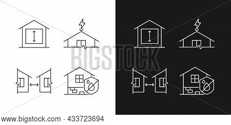 Building Safe House Linear Icons Set For Dark And Light Mode. Minimum Ceiling Height. Distance Betwe