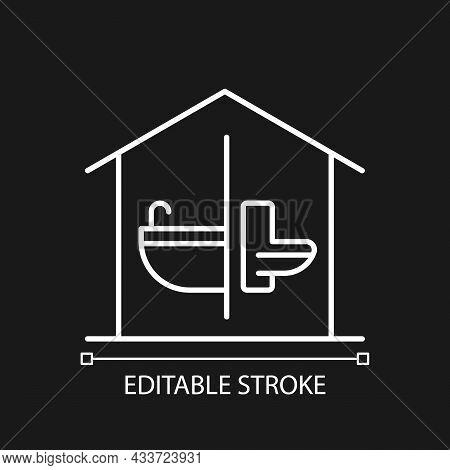 Sanitation Facilities White Linear Icon For Dark Theme. Hygienic Conditions Maintenance. Thin Line C