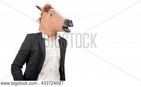 Im Hardworking Professional. Hardworking Guy Isolated On White. Man In Horse Head And Suit