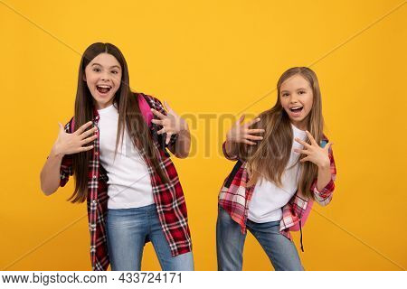 Happy Funny Teen Girls In Casual Checkered Shirt Carry Backpack, School Fun