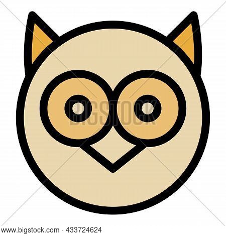 Round Owl Head Icon. Outline Round Owl Head Vector Icon Color Flat Isolated