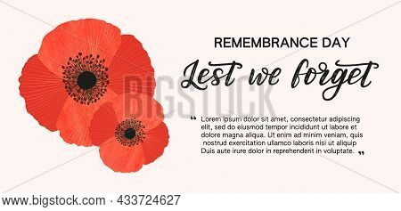 Remembrance Day Banner With Copy Space For Text. Red Watercolour Poppies Decorated By Golden Lines A