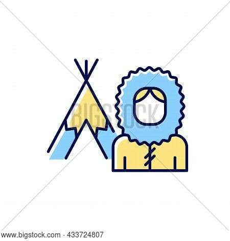 Inuit Population Rgb Color Icon. Indigenous Peoples Of Canada. Traditional Shelter Igloo. Northern N