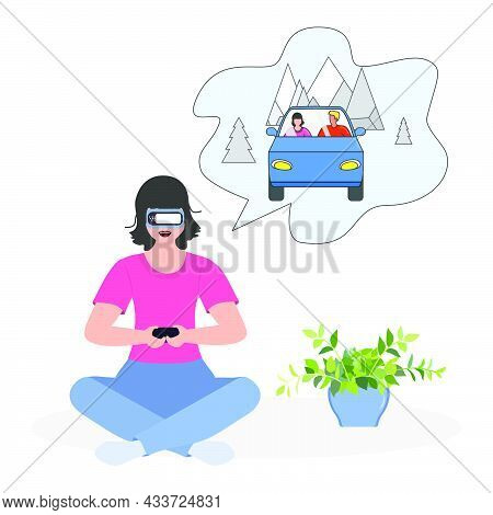 Vector Illustration Woman Wearing Virtual Reality 3d Glasses Plan Travel, Holiday Trip By Car. Vr He