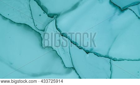 Contemporary Paint Background. Alcohol Ink Pattern. Pastel Flow Liquid. Blue Cloud Fashion Abstracti