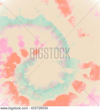 Art Cool Dress. Artistic Pattern. Batik Effect. Watercolor Dyed Texture. Tye Dye Circle Kaleidoscope