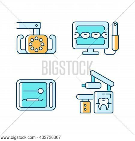 Dental Devices Rgb Color Icons Set. Lightening Oral Cavity. Intraoral Camera. Uv Sterilizer Box. X-r