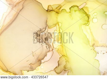 Acrylic Ink. Color Abstract Background. Contemporary Oil Splash. Bright Fluid Texture. Alcohol Ink M