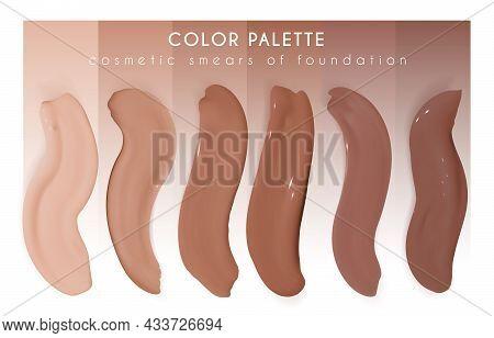 Foundation Smudges. Make Up Concealer Gel. Vector Fashion Strokes. Skin Beauty Background. Beige Mak