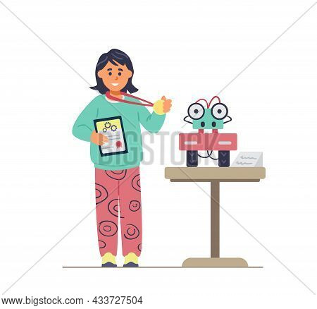 Girl Winning In Robotics Competitions Holding Medal And Diploma Near Her Robot. Robotics For Kids. F
