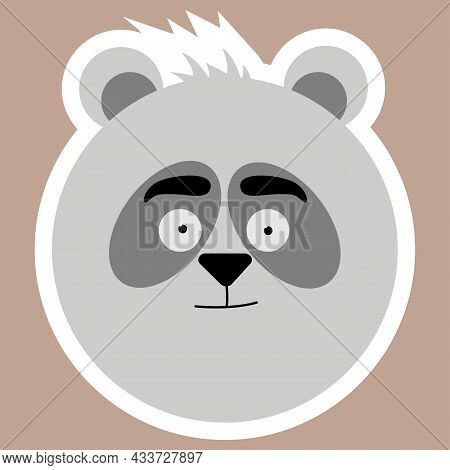 Panda. A Sticker With A Panda's Face. Vector Of Jungle Safari Animals. Illustration Of Forest Animal
