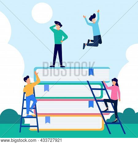 Vector Illustration Of The Progress Of Learning For Students, The Concept Of Book Reading By Academi