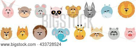 Emotional Animals. Cartoon Cute Animals For Children's Cards And Invitations. Vector Illustration. L