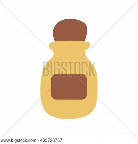 Vintage Bottle, Jar For Drinks, Spices, Potions. Colorful Vector Isolated Illustration Hand Drawn. L