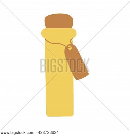 Vintage Yellow Small Bottle, Jar For Drinks, Spices, Potions. Colorful Vector Isolated Illustration