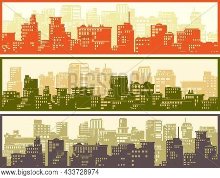 Set Of Vector Horizontal Banners Of Childish Stylized Big City With Downtown And Skyscrapers In Brig