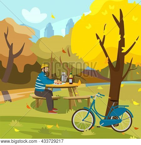 Vector Illustration Of A Man Having Picnic In Autumn Park. Fall In The City Park. Bike Near Tree. Ea