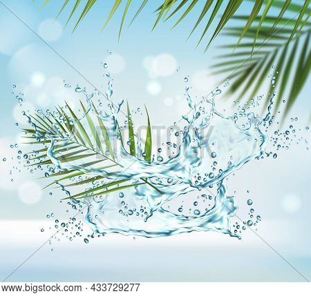 Clean Water Splash And Palm Leaves Background. Liquid Wave Swirl With Drops, Vector Splashing Aqua D