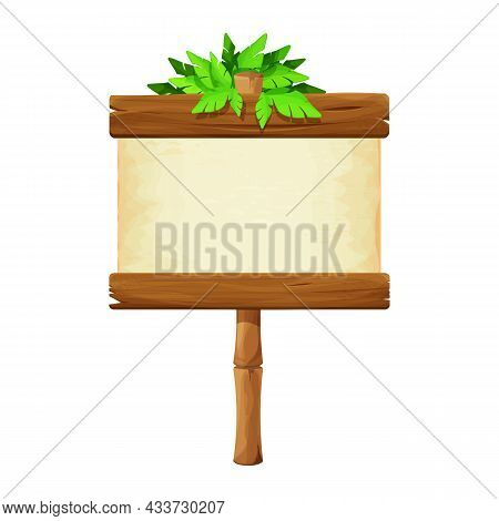 Signboard With Parchment On Bamboo Stick Decorated With Tropical Leaves In Cartoon Style Isolated On
