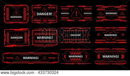 Hud Danger And Alert Attention Vector Red Interface Signs, Warning And Caution Ui. Hud Tech And Digi