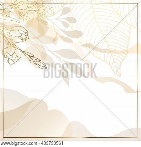 Golden Abstract Trendy Square Background With Watercolor Stains, Branches, Tropical Leaves And Plant
