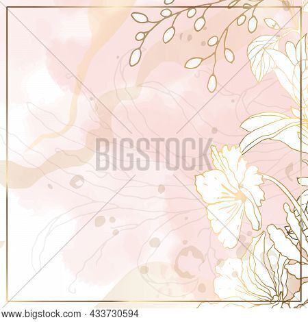 Floral Minimal Background. For Use On Social Networks. Watercolor Square Pink Background. Vector Ill