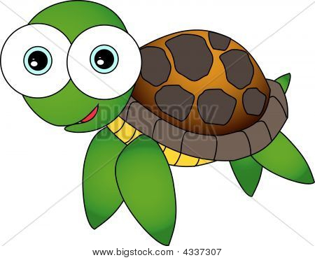 Vector illustration of a cute looking cartoon sea turtle with big eyes. poster