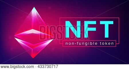 Nft Non Fungible Token Horizontal Banner In Neon Line Art Style. 3d Vector Illustration With Abstrac