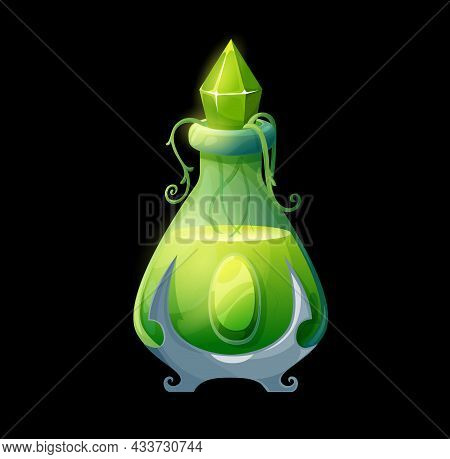 Potion Bottle With Nature Elixir, Vial With Green Magic Liquid, Crystal Bung And Plant Vines. Vector