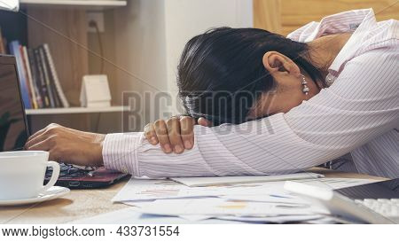 Stressed Businesswoman, Frustrated And Upset In Business Pressure And Overworked At Office. Adult As