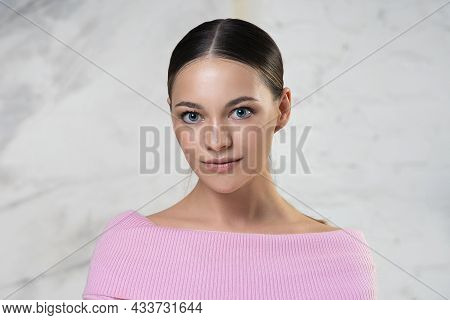 Beauty Portrait Of Pretty Beautiful Attractive Girl, Young European Woman Looking Straight At Camera