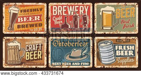 Craft Beer And Brewery Vintage Plates, Vector Retro Tin Signs. Oktoberfest Craft Beer Fest Celebrati