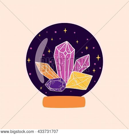 Magic Crystal Ball With Crystals. Crystal Logo Fortune Teller Crystal Ball. Witchcraft Magic Symbol.