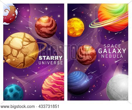 Starry Universe And Space Galaxy Nebula Landscape Cartoon Posters With Planets And Stars Vector Desi