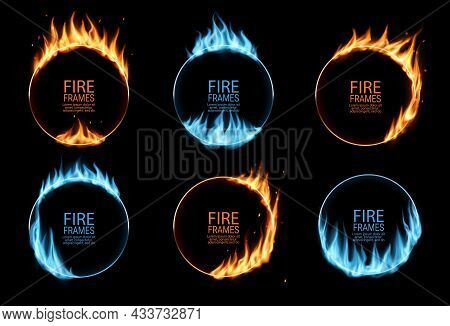 Round Frames With Fire And Gas Flames, Burning Circus Circle Rings, Vector. Blue Gas Or Burn Light G
