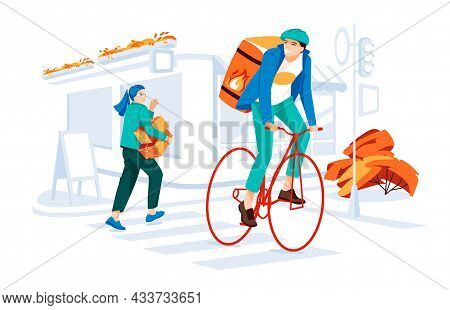 Cyclist Delivery Guy Give Some Boxes Tom Young Woman On The Old City Street With Showcases Of Cafe A