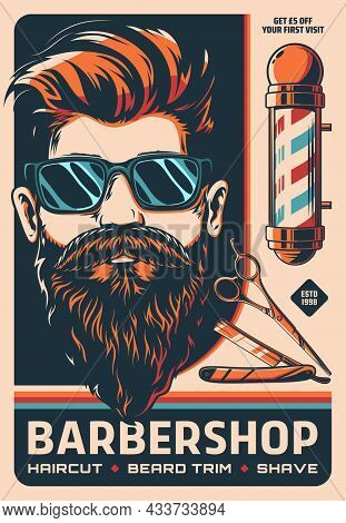 Barbershop Retro Poster With Barber Shop Pole, Vector Man With Beard And Mustaches. Barbershop Men A