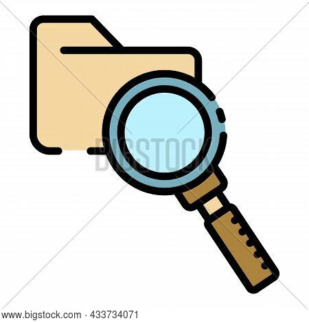 Folder And Magnifier Icon. Outline Folder And Magnifier Vector Icon Color Flat Isolated