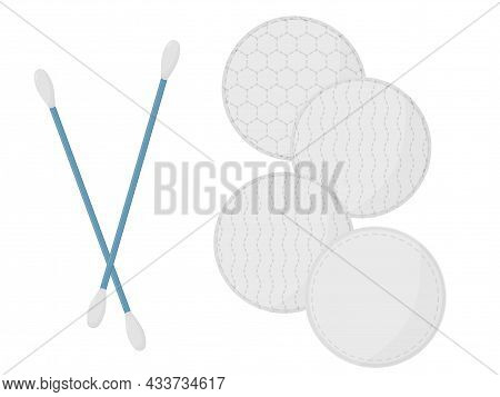 Cotton Buds And Round Cotton Pad. Face Care Cosmetics.