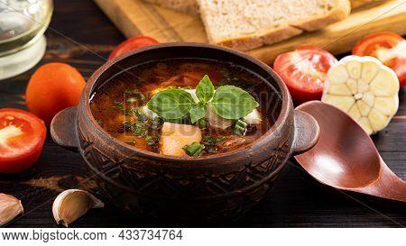 Traditional Ukrainian, Russian Borscht With Chicken. Red Borscht With Garlic.