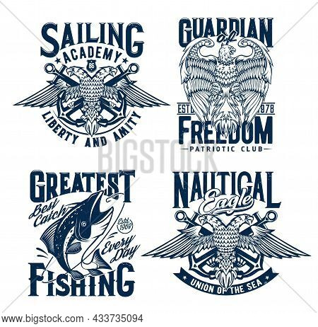 Tshirt Prints With Tuna Fish, Two Headed Eagles And Anchors, Nautical Vector Mascot For Fishing, Pat