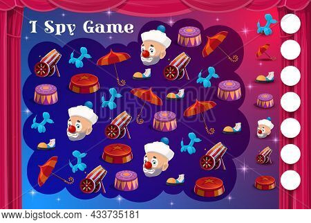 Kids I Spy Game With Circus Items And Clowns, Vector Cartoon Find And Match Riddle. Kids Tabletop Pu