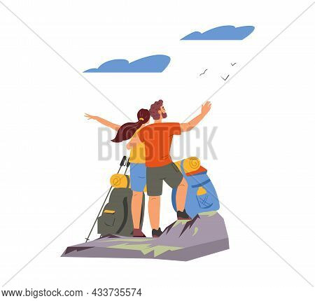 Couple Hugging Standing On Top Of The Mountain Observing Beautiful Landscape. Man And Woman Hiking V