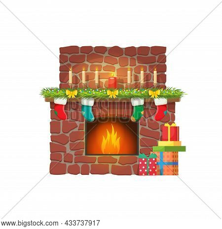 Christmas Fireplace With Candles And Gift Socks For Santa Presents, Vector. Merry Christmas Holiday