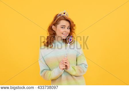 Nice Smile. Selfish Princess In Tiara. Woman Hold Magic Stick. Egoistic Girl Wear Diadem.