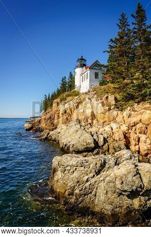 Scenic view of Bass Harbor Head Lighthouse in Acadia National Park, Maine